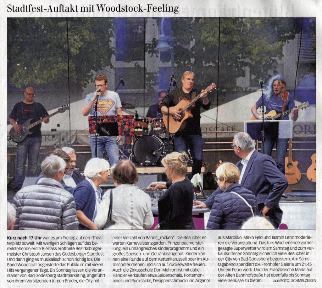 Zeitungsausschnitt des Bonner General-Anzeiger vom 14.09.2019 über WOODSTUFF live auf dem Bad Godesberger Stadtfest am 13.09.2019